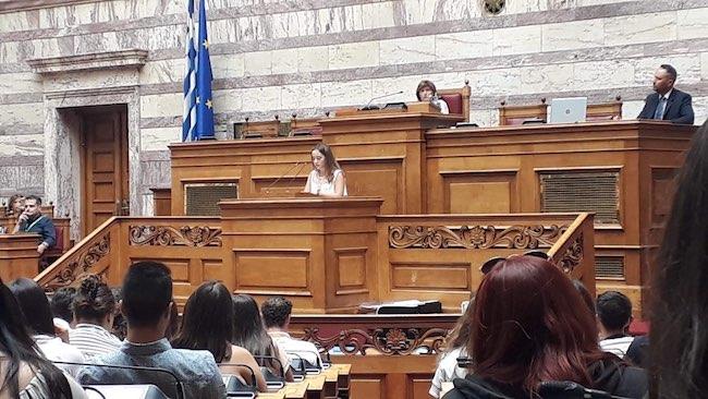 Η μαθήτρια Αναστασία Ρότσκου στις συνεδρίες της Βουλής των Εφήβων